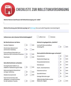 Rollstuhl Checkliste